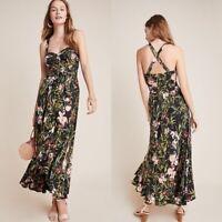 Anthropologie  Maeve Gabriela Ruffled Floral Black Maxi Tie Waist Dress Small