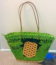 Pineapple Purse/ Handbag Green Wheat Straw By Red Fish Tropical