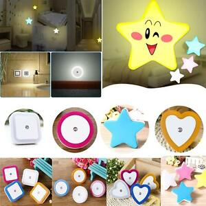 0.5W Auto Sensor Control LED Night Light Lamp US EU Plug For Hallway Bedroom RK9