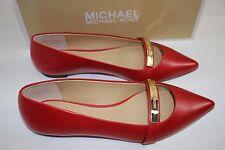 NIB MICHAEL KORS Size 7 Women's Crimson 100% Leather JESS FLAT Point Toe Loafer