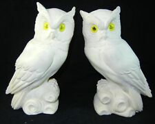 Lot of 2 Giannelli Vintage Cream White Alabaster Owl Figurine Yellow Eyes 1972