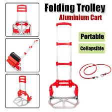 Portable Aluminium Folding Luggage Cart Hand Dolly Push Truck Trolley w/ Wheels