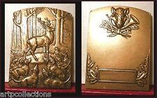 "ANIMAUX MEDAILLE BRONZE "" CERF "" CHASSE ANIMALS IN MEDALLIC ART FRENCH MEDAL"