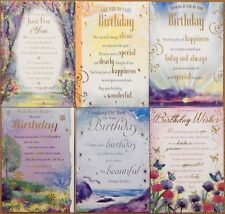 Pack of 6 Male Female Birthday cards, Inspirational Sentimental Verse cards