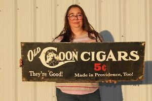 """Old Coon 5c Cigars Tobacco Shop Gas Oil 36"""" Metal Sign"""