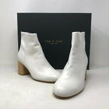 NIB $525 Rag & Bone Drea Leather Ankle Boots in White size: US6.5  EU36.5