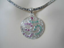 NATURAL Pink RUBY & EMERALD Birthstone 925 Sterling SILVER AUM OHM PENDANT BIG