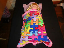 doll bedding 4 18 inch american girl blanket pillow set autism puzzle purple 15