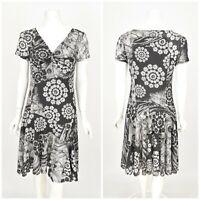 Womens Desigual Grey Dress 27V2846 Floral Print V-Neck Short Sleeve Size M