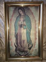 """New Gold & Silver Framed Virgin Our Lady Of Guadalupe W/Angel Print20.5"""" X13.5"""""""