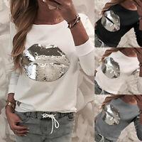 Women Casual Long Sleeve Print Sequin Hoodies Loose Sweatshirt Shirt Blouse Tops
