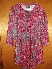 Red Paisley Notch Neck Button-Front Tunic XL