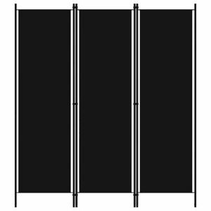 Room Divider Black Freestanding Dressing Privacy Screen Partition 3-Panel Fabric