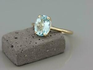 1.00 Ct Oval Cut Blue Aquamarine Solitaire Engagement Ring 14k Yellow Gold Over