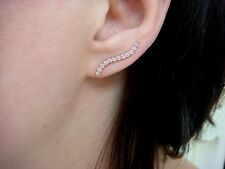 HIGH QUALITY 0.50 CARAT T.W. WAVE DESIGN EAR CLIMBER EARRINGS IN 14K ROSE GOLD