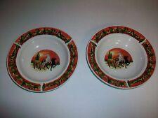 """Lot 2 Vintage TIENSHAN STONEWARE Bowls 8 1/2"""" Horses running in desert"""