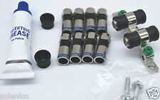8 COMPRESSION F CONNECTORS  RG6  PERFECT VISION DUAL GROUND BLOCK & GREASE KIT