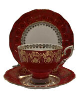 Royal Standard Vintage Red Bone China Gold Trimmed 3 Pc Tea Cup, Saucer & Plate