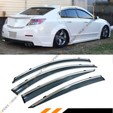 FOR 09-14 ACURA TL CLIP ON SMOKE TINTED LUXURY SIDE WINDOW VISOR W/ CHROME TRIM