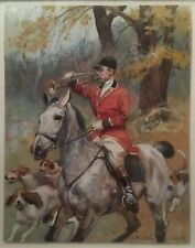 Polish listed artist Wojciech Kossak equestrian red fox hunter horseback dogs