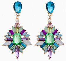 Betsey Johnson Gold Blue Green Lavender Crystal Starburst Stud Earrings