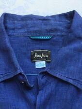 Mens Neiman Marcus Toscano 100% Linen Blue Casual Dress Shirt XL Long Sleeve