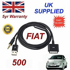 FIAT 500 ULTIMA Blue & Me 3GS 4 4S IPHONE IPOD USB AUX Audio Adapter Cavo Nero