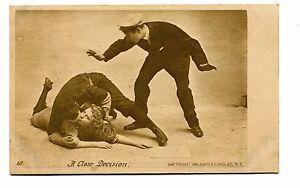 Vintage Postcard A CLOSE DECISION early baseball romance kissing 1909
