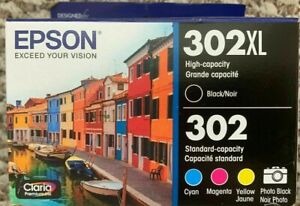 EPSON 302XL 302 5 Pack High Yield Black & Standard Capacity Printer Ink EXP 2023