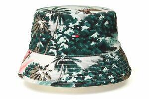 Tommy Hilfiger Flag Reversible Bucket Hat (Palm Print/ White)