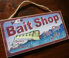 BAIT SHOP Rustic Tackle Fishing Lure Fisherman Cabin Home Lodge Decor Sign NEW