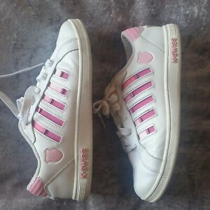 K. Swiss White and Pink trainers size UK 5