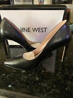 New Nine West Tatiana Pointed Toe Classic Stiletto Pumps, Black Leather, Sz 7.5