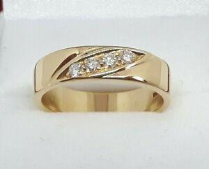 18ct Yellow Gold 0.24ct Diamond set Wedding band Ring, VVS, E grade Diamonds