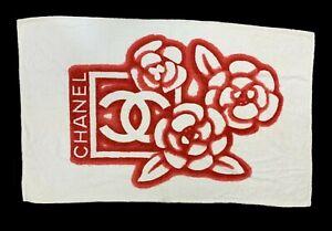 Authentic CHANEL Big Coco Mark Bath Towel Beach Towel Cotton White Red Rank AB