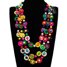 Fashion Circles Round Multi-Color Wood Beads Chain Collar Pendant Bib Necklace