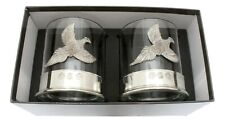 More details for pheasant design pair crystal tumblers with pewter base in presentation box
