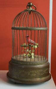 Vintage French Singing Automaton Chirping Bird Cage Music Box