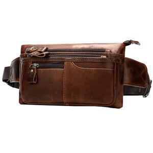 Vintage Leather Men Fanny Pack Waist Bag Hip Bum Belt Slim Phone Wallet Pouch