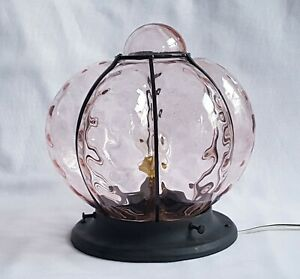 VINTAGE WROUGHT IRON CAGED PINK GLASS HALL LANTERN - FLUSH TO CEILING LIGHT