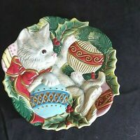 "Vintage Fitz & Floyd Serving Plate Kitten With Christmas Ornament 9"" Preowned"