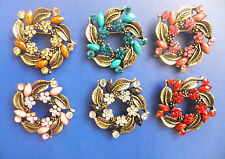 Flower Wreath Brooch Vintage Look , Crystal Diamante Hijab Pin Different Colours