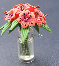 1:12 Scale Dark Pink Lilies In A Vase Tumdee Dolls House Flower Accessory