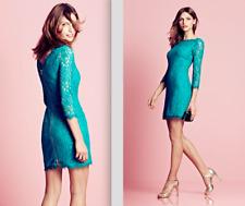 Diane von Furstenberg DVF Turquoise Teal Zarita Stretch Lace Sheath Dress S 4