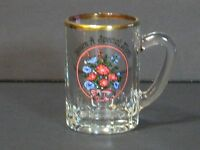 "HANDLED Mini Mug/Toothpick Holder, SHOT GLASS FRANCE, 2.75"", Gold Trim, Flowers"