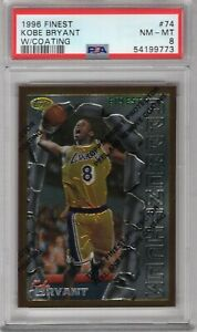 KOBE BRYANT 1996-97 TOPPS FINEST ROOKIE RC W/COATING #74 PSA 8 NM-MT LAKERS