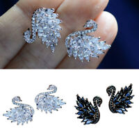 1 Pair Women Elegant Crystal Swan Ear Studs Earrings Wedding Party Jewelry Gift
