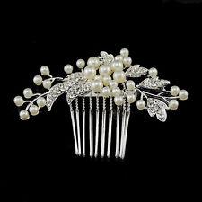 Elegant Bridal Wedding Hair Comb Pearl Crystal flower leaf Headpiece Hair Comb