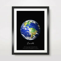 PLANET EARTH Art Print Poster Home Wall Decor A4 A3 A2 World Outer Space Galaxy