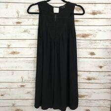 THEORY Women's Black Sleeveless Knit Embroidery Sheath Rayon Dress Size 8 FLAW